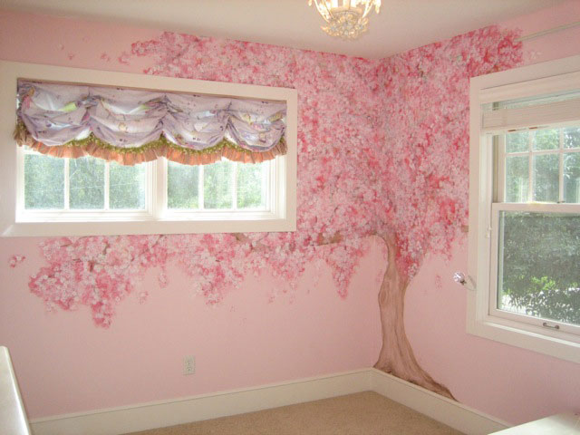 Hand painted cherry cake ideas and designs for Cherry blossom tree mural